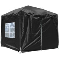 Greenbay Garden Pop Up Gazebo Party Tent Canopy With 4 Sidewalls and Carrying Bag Black 2.5x2.5M