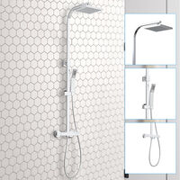 Bathroom Square Thermostatic Mixer Shower Set Twin Head Exposed Valve Chrome