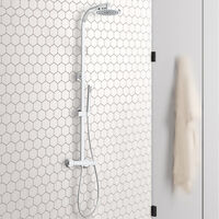 Bathroom Round Thermostatic Mixer Shower Set Twin Head Exposed Valve Chrome