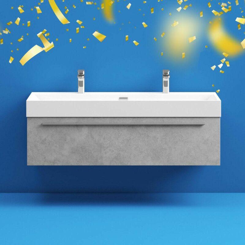 Mode Morris Dark Concrete Grey Wall, Mode Burton White Wall Hung Vanity Unit And Basin 600mm