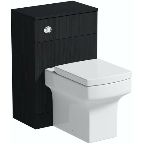 Orchard Wye essen black back to wall unit and toilet with soft close seat
