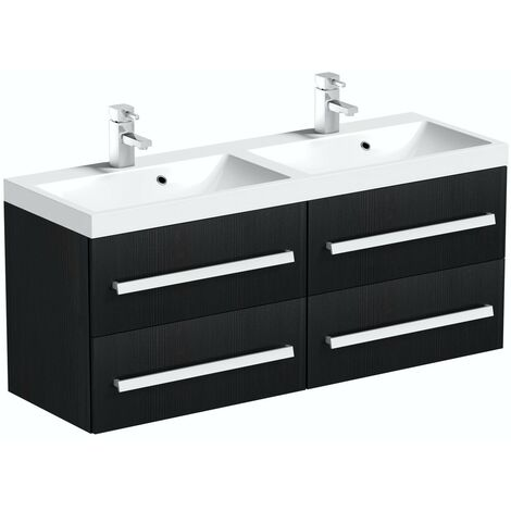 Orchard Wye essen black wall hung double vanity unit and basin 1200mm