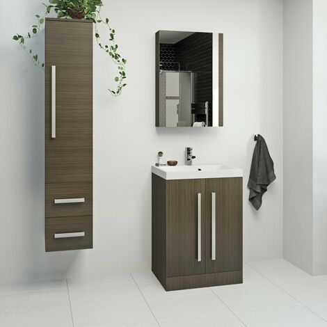 Orchard Wye walnut furniture package with floorstanding vanity unit 600mm