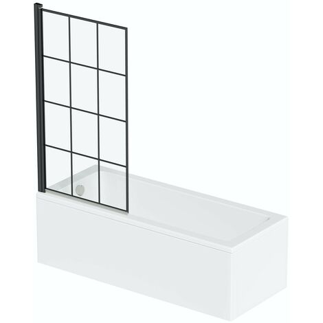 Orchard square edge straight shower bath with 8mm black framed shower screen 1400 x 700