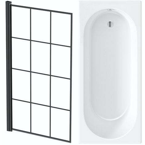 Orchard round edge straight shower bath with 8mm black framed shower screen 1600 x 700