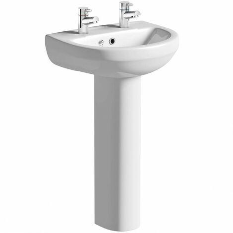 Orchard Eden 2 tap hole full pedestal basin 550mm