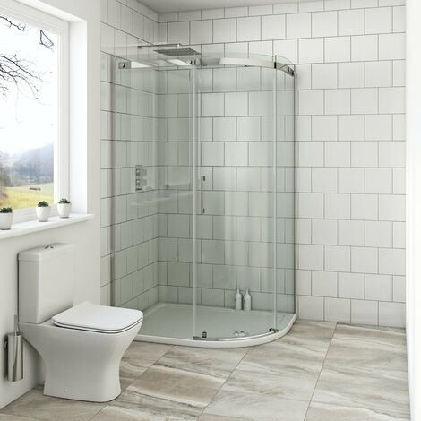 Mode Harrison 8mm right handed offset quadrant shower enclosure with stone tray 1200 x 800