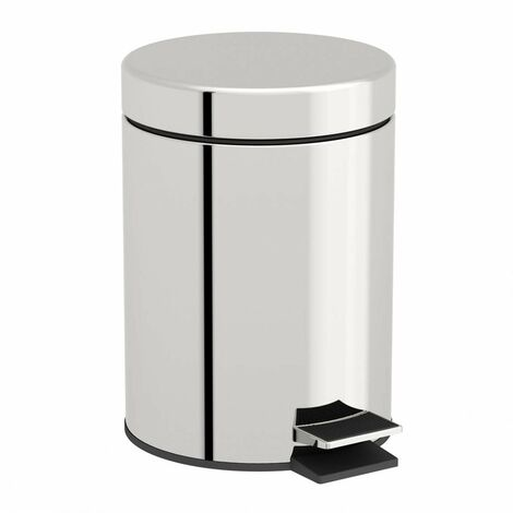 Accents Options round stainless steel bathroom bin 3 litre