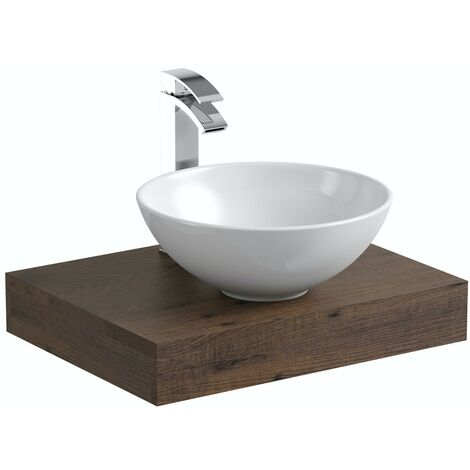 Mode Orion chestnut countertop shelf 600mm with Derwent countertop basin, tap and waste