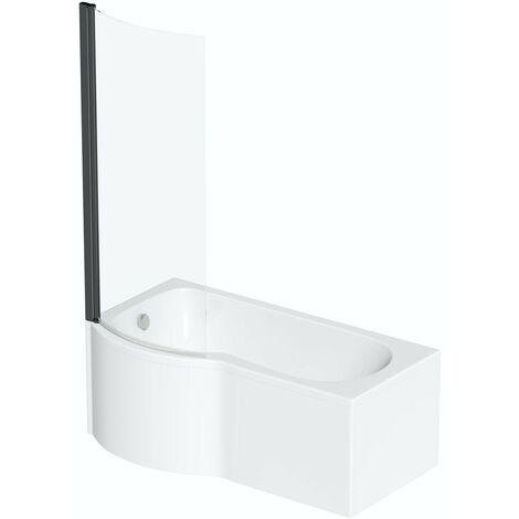 Orchard P shaped left handed shower bath with 6mm matt black shower screen 1700 x 850