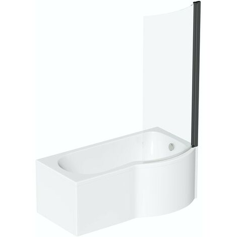 Orchard P shaped right handed shower bath with 6mm matt black shower screen 1700 x 850