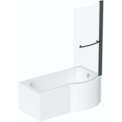 Orchard P shaped right handed shower bath with 6mm matt black shower screen 1500 x 850