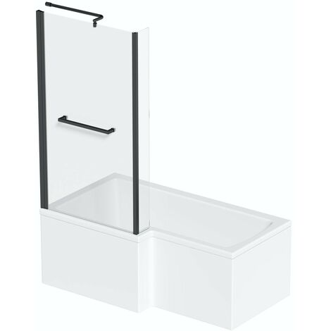 Orchard L shaped left handed shower bath with 6mm matt black shower screen with rail 1700 x 850