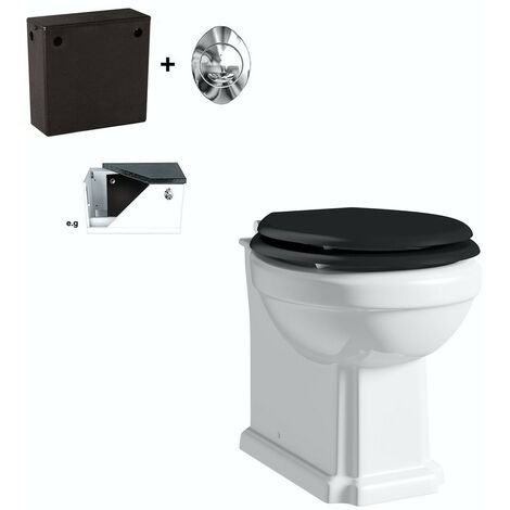 Orchard Dulwich back to wall toilet with black soft close seat and concealed cistern