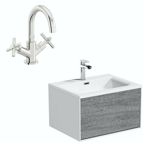 Mode Burton white & grey ice stone wall hung vanity unit and basin 600mm with tap