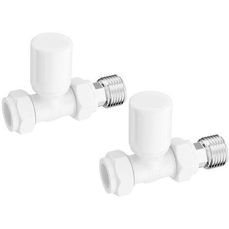 The Heating Co. White straight radiator valves