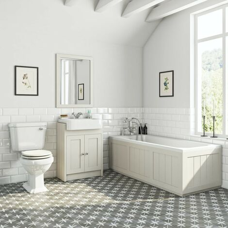 Orchard Dulwich stone ivory furniture suite with straight bath 1700 x 700mm