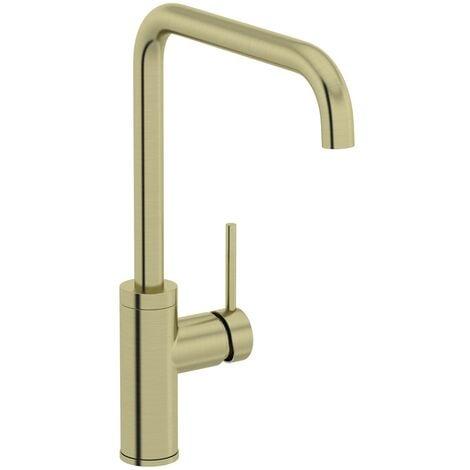 Schon Skye L spout brushed brass kitchen mixer tap
