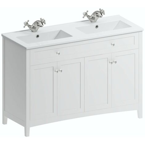 The Bath Co. Camberley white floorstanding double vanity unit and ceramic basin 1210mm