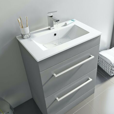 Orchard Derwent stone grey floorstanding vanity drawer unit and ceramic basin 600mm