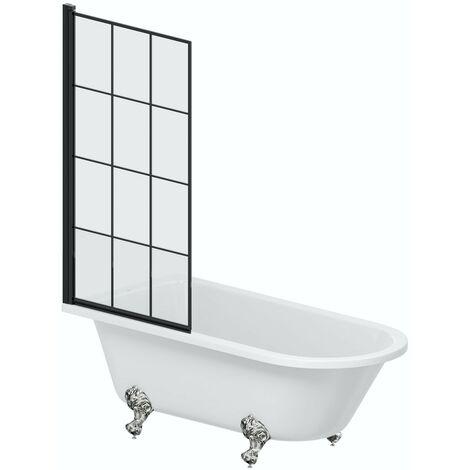 Orchard Dulwich freestanding shower bath with 8mm black framed shower screen 1500 x 780