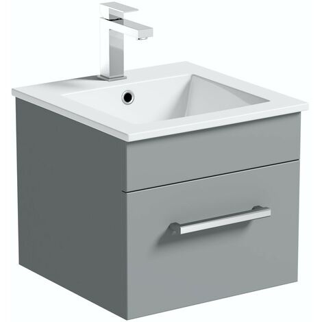 Orchard Derwent stone grey wall hung vanity unit and ceramic basin 420mm