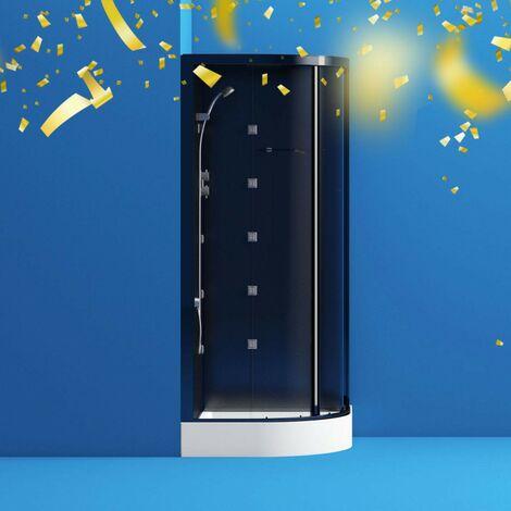 Mode quadrant black glass backed hydro massage shower cabin 900 x 900