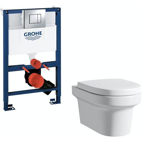 Mode Burton wall hung toilet, Grohe frame and Skate Cosmopolitan push plate 0.82m