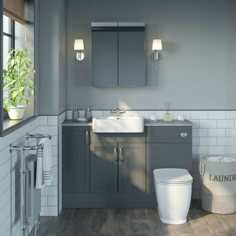 Reeves Newbury dusk grey small fitted furniture & mirror combination with pebble grey worktop