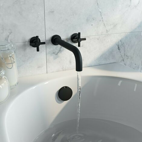 Mode Tate black wall mounted bath mixer tap