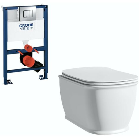The Bath Co. Beaumont wall hung toilet with soft close seat, Grohe frame and Skate Cosmopolitan push plate