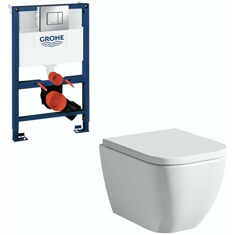 Mode Ellis short projection wall hung toilet, Grohe frame and Skate Cosmopolitan push plate 0.82m