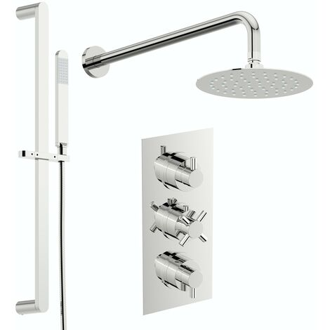 Mode Tate thermostatic mixer shower with wall shower and slider rail 250mm shower head