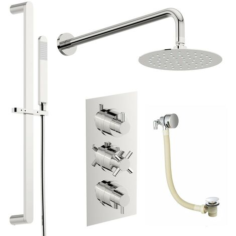 Mode Tate thermostatic mixer shower with wall shower, slider rail and bath filler 250mm shower head
