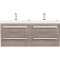 Orchard Wye walnut wall hung double vanity unit and basin 1200mm
