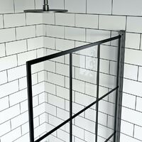 Orchard round edge straight shower bath with 8mm black framed shower screen 1700 x 750