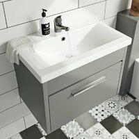 Clarity satin grey wall hung vanity unit and ceramic basin 600mm