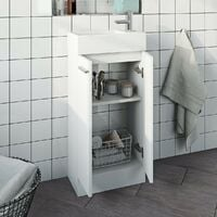 Clarity Compact white floorstanding vanity unit and basin 410mm