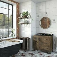 The Bath Co. Dalston floorstanding vanity unit and black marble basin 900mm