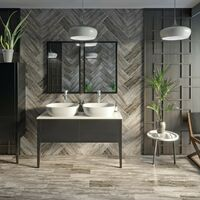 Mode Hale grey gloss wall hung double vanity unit with ceramic countertop and basins 1200mm