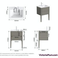 Mode Hale grey-stone matt wall hung vanity unit and basin 600mm