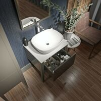 Mode Hale grey-stone matt wall hung vanity unit with ceramic countertop and basin 600mm