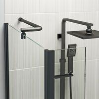 Orchard 6mm matt black fixed L shaped shower bath screen