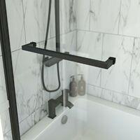Orchard 6mm matt black fixed L shaped shower bath screen with rail