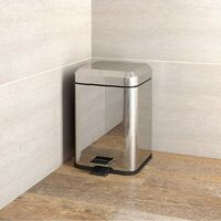 Accents Options square stainless steel bathroom bin 6 litre