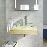 Mode Orion oak countertop shelf 600mm with Mackintosh glass countertop basin, tap and waste