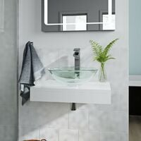 Mode Orion white countertop shelf 600mm with Mackintosh glass countertop basin, tap and waste