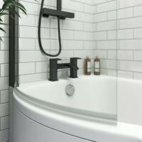 Orchard 6mm matt black P shaped shower bath screen