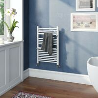 The Heating Co. Rohe white heated towel rail with hangers 1200 x 500