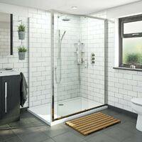 Orchard 6mm framed sliding shower enclosure 1200 x 800 with Mode Harrison thermostatic triple valve shower set